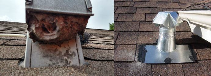 Cleaning a roof mounted dryer vent